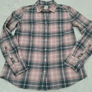 J. Crew Perfect Shirt in pink & grey plaid